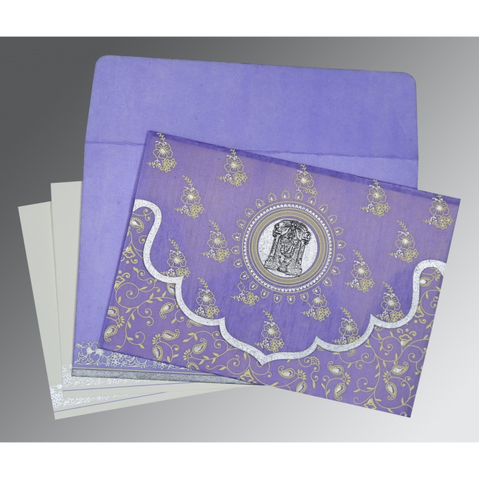 Purple Wooly Screen Printed Wedding Invitation : SO-8207D - 123WeddingCards