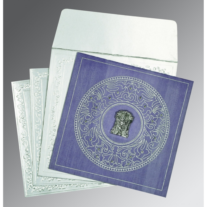 Purple Wooly Screen Printed Wedding Card : SO-8214O - 123WeddingCards