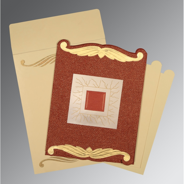 BRICK RED GOLD SHIMMERY EMBOSSED WEDDING CARD : D-1412 - 123WeddingCards
