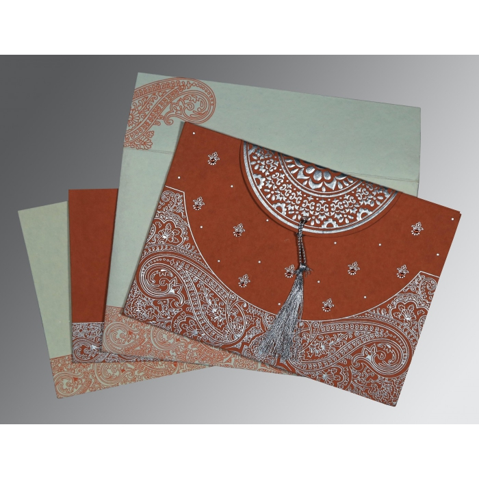 PEARL ORANGE RED HANDMADE COTTON EMBOSSED WEDDING CARD : D-8234F - 123WeddingCards