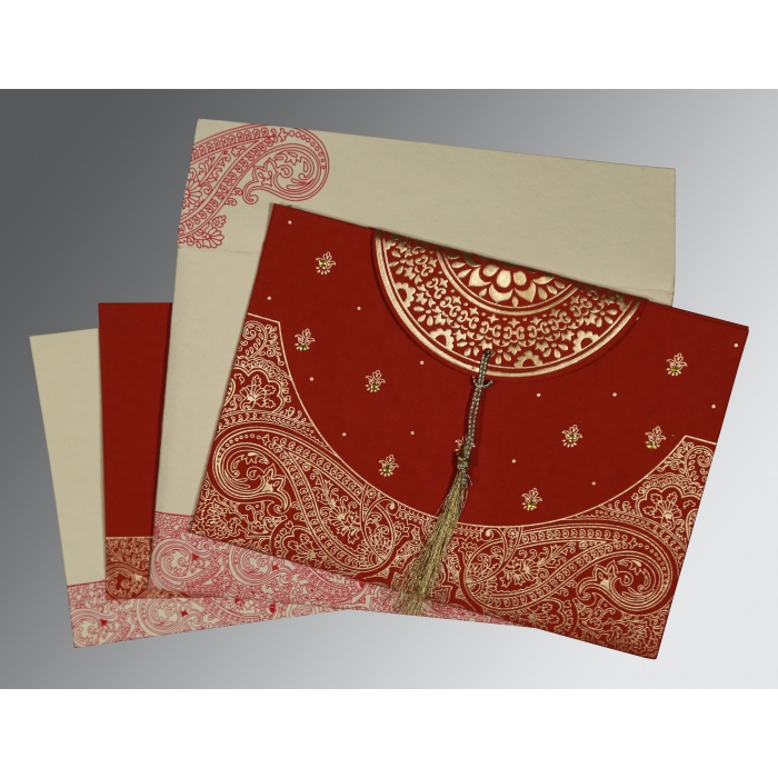 FALU RED HANDMADE COTTON EMBOSSED WEDDING CARD : D-8234L - 123WeddingCards
