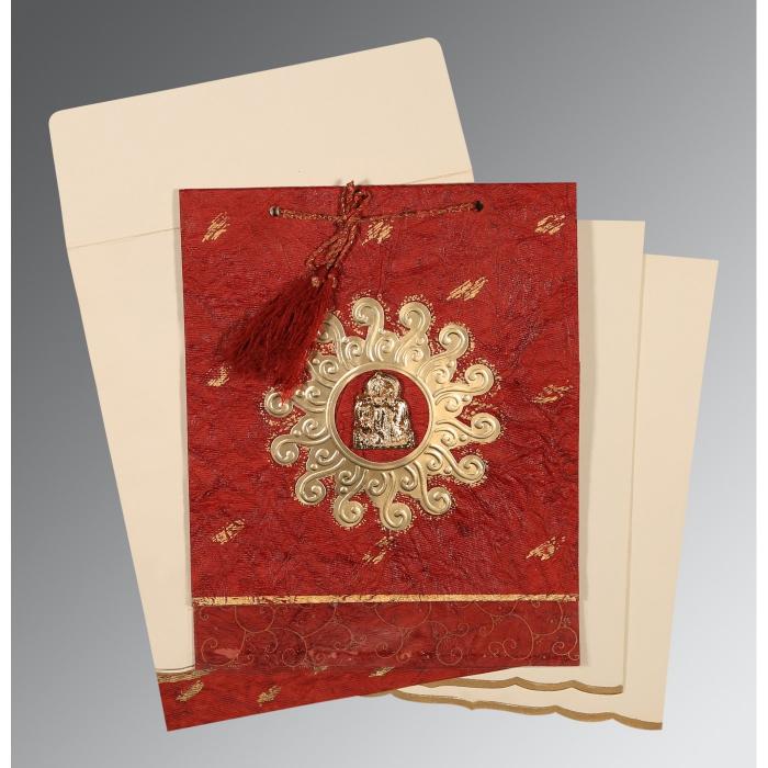 Red Handmade Cotton Embossed Wedding Invitation : G-1264 - 123WeddingCards