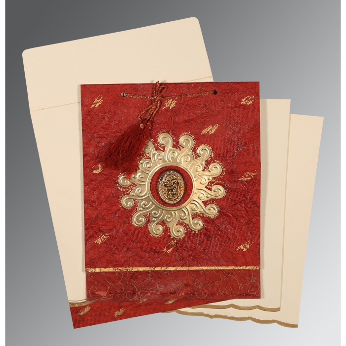 Red Handmade Cotton Embossed Wedding Invitation : I-1264 - 123WeddingCards