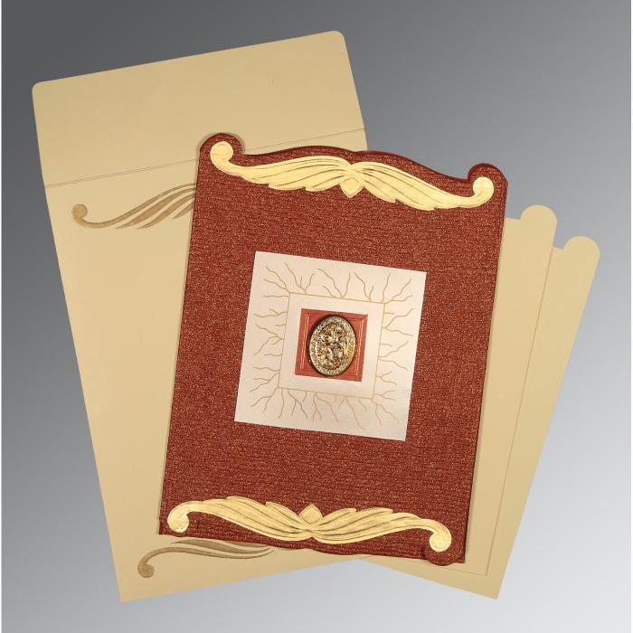 Red Handmade Cotton Embossed Wedding Card : I-1412 - 123WeddingCards