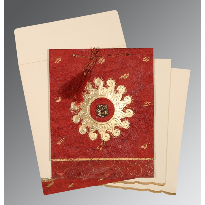 Red Handmade Cotton Embossed Wedding Invitations : IN-1264 - 123WeddingCards