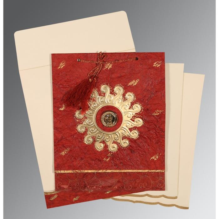 Red Handmade Cotton Embossed Wedding Invitation : RU-1264 - 123WeddingCards
