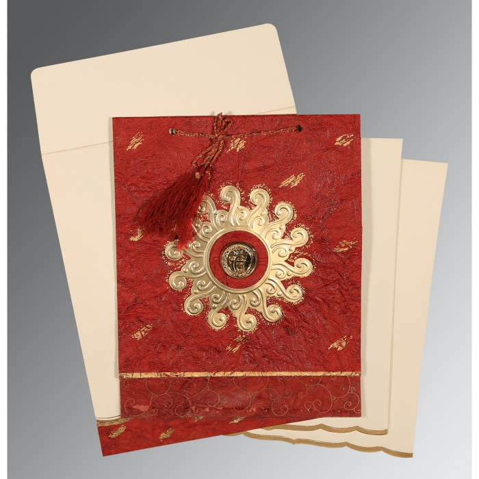 Red Handmade Cotton Embossed Wedding Invitation : S-1264 - 123WeddingCards