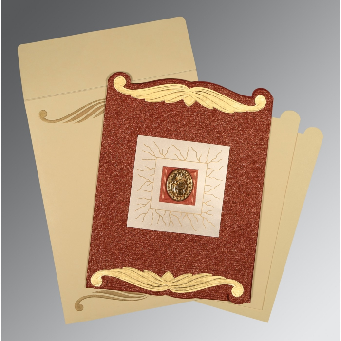 Red Handmade Cotton Embossed Wedding Card : S-1412 - 123WeddingCards