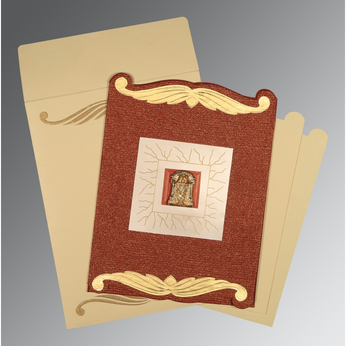 Red Handmade Cotton Embossed Wedding Card : SO-1412 - 123WeddingCards
