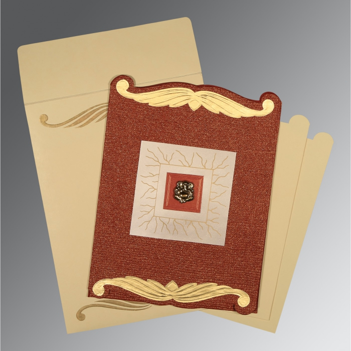 BRICK RED GOLD SHIMMERY EMBOSSED WEDDING CARD : W-1412 - 123WeddingCards