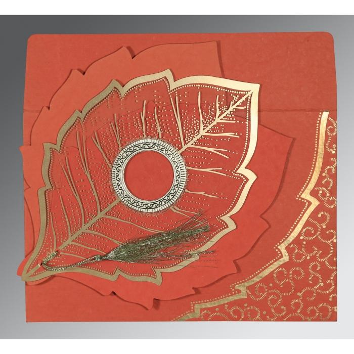 Red Handmade Cotton Floral Themed - Foil Stamped Wedding Card : I-8219I - 123WeddingCards