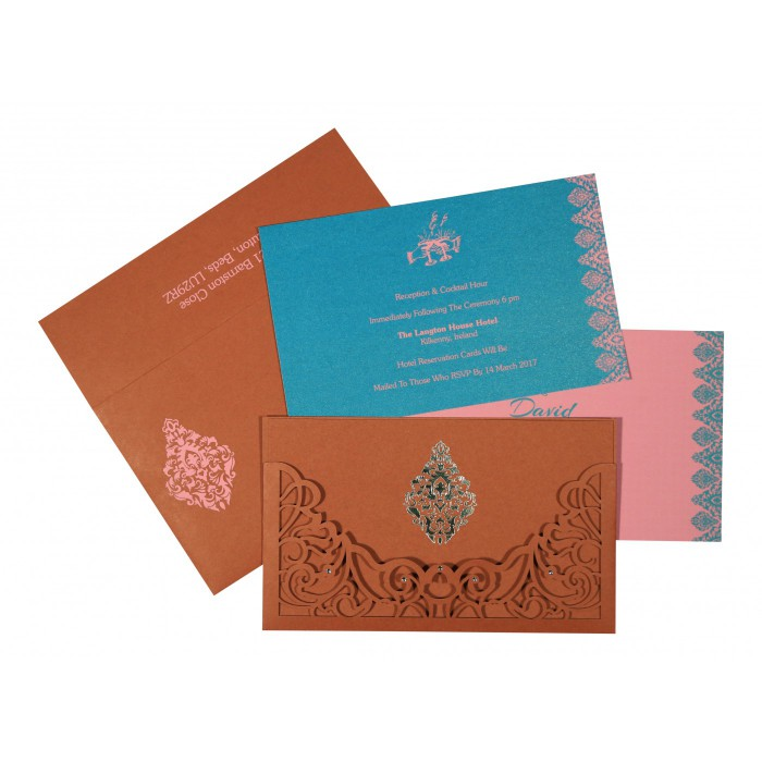 BRICK RED MATTE DAMASK THEMED - LASER CUT WEDDING CARD : C-8262F - 123WeddingCards