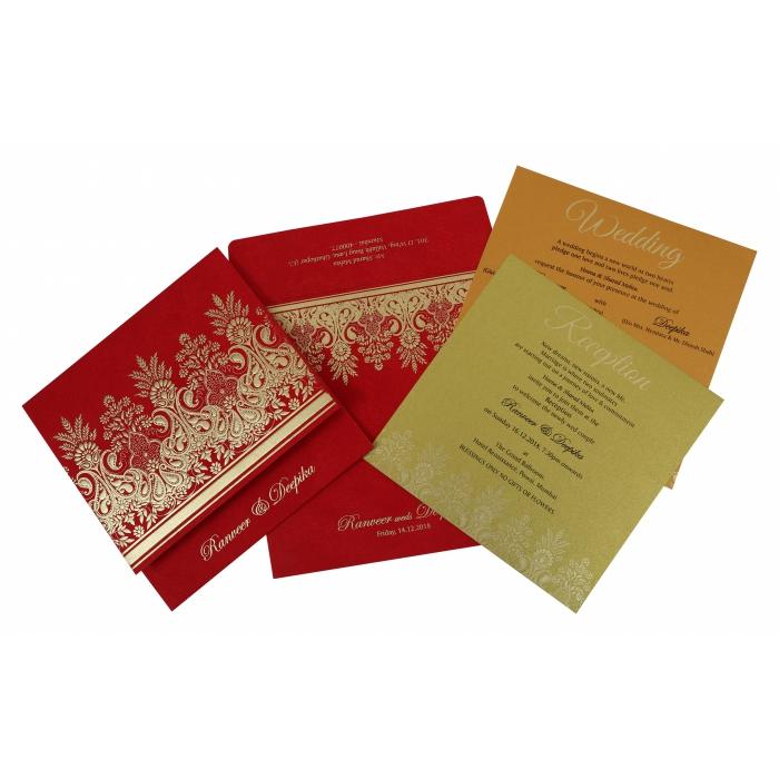 Red Matte Embossed Wedding Invitation : W-1780 - 123WeddingCards