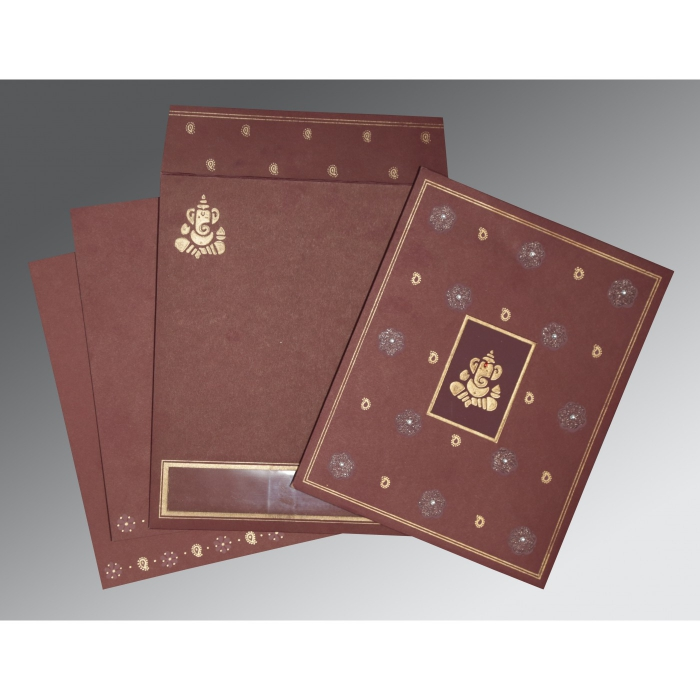 DARK RED MATTE EMBOSSED WEDDING CARD : W-2208 - 123WeddingCards