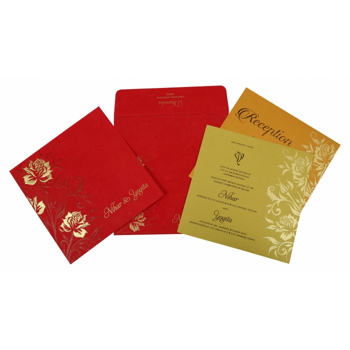 Red Matte Floral Themed - Screen Printed Wedding Invitation : W-1820 - 123WeddingCards