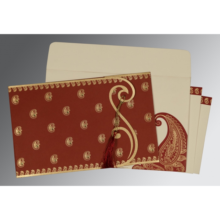 Red Matte Paisley Themed - Screen Printed Wedding Invitation : D-8252A - 123WeddingCards