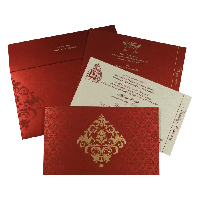 Moderate Red Shimmery Damask Themed Screen Printed Wedding Card