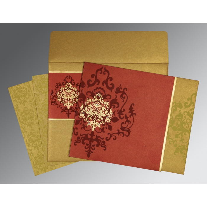 Red Shimmery Damask Themed - Screen Printed Wedding Card : RU-8253B - 123WeddingCards