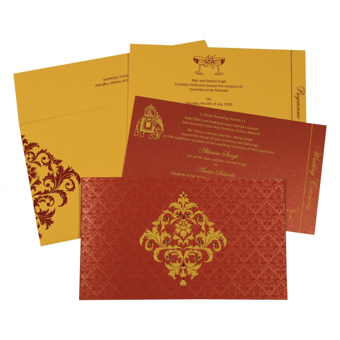 Red Shimmery Damask Themed - Screen Printed Wedding Card : RU-8257D - 123WeddingCards