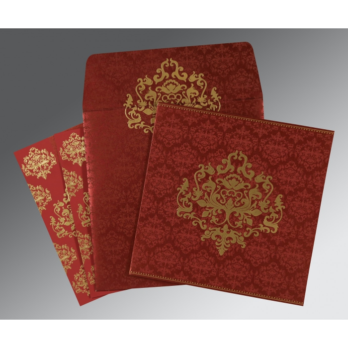 Red Shimmery Damask Themed - Screen Printed Wedding Card : SO-8254B - 123WeddingCards