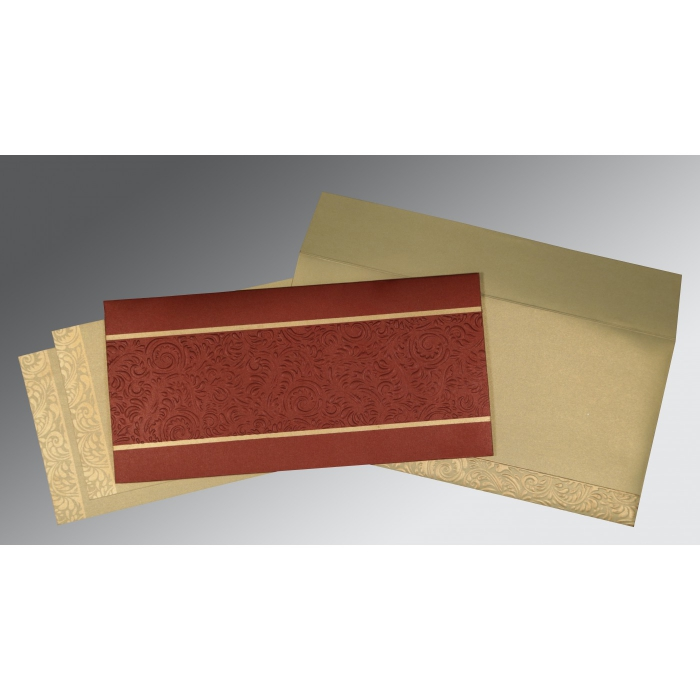 BRICK RED SHIMMERY EMBOSSED WEDDING INVITATION : D-1471 - 123WeddingCards
