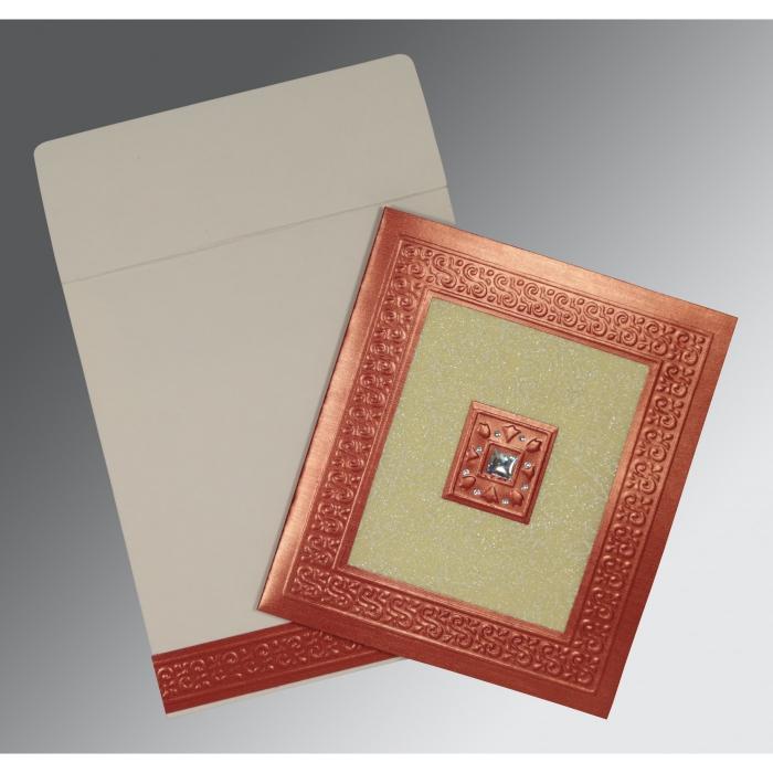 CREAM RED SHIMMERY EMBOSSED WEDDING INVITATION : W-1411 - 123WeddingCards