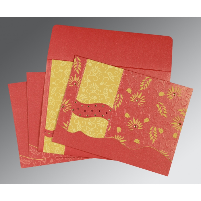 Red Shimmery Floral Themed - Embossed Wedding Invitation : IN-8236C - 123WeddingCards