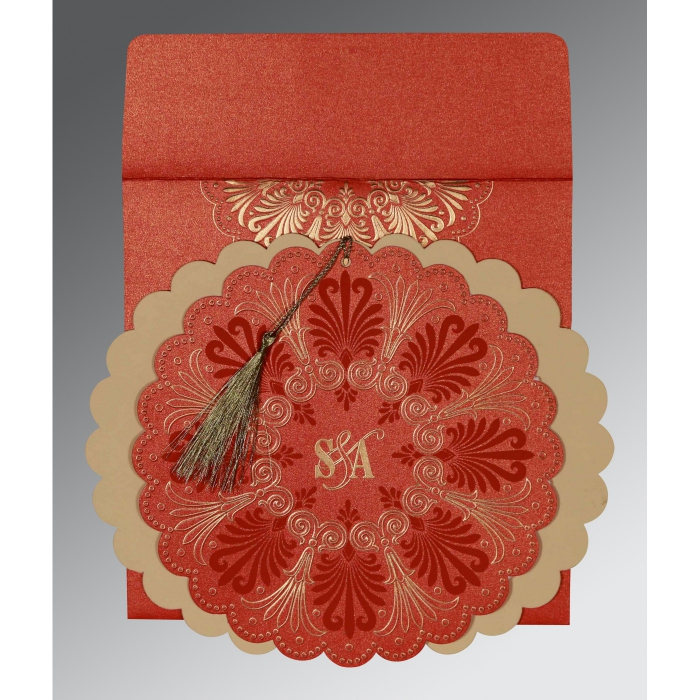 Red Shimmery Floral Themed - Embossed Wedding Card : IN-8238I - 123WeddingCards