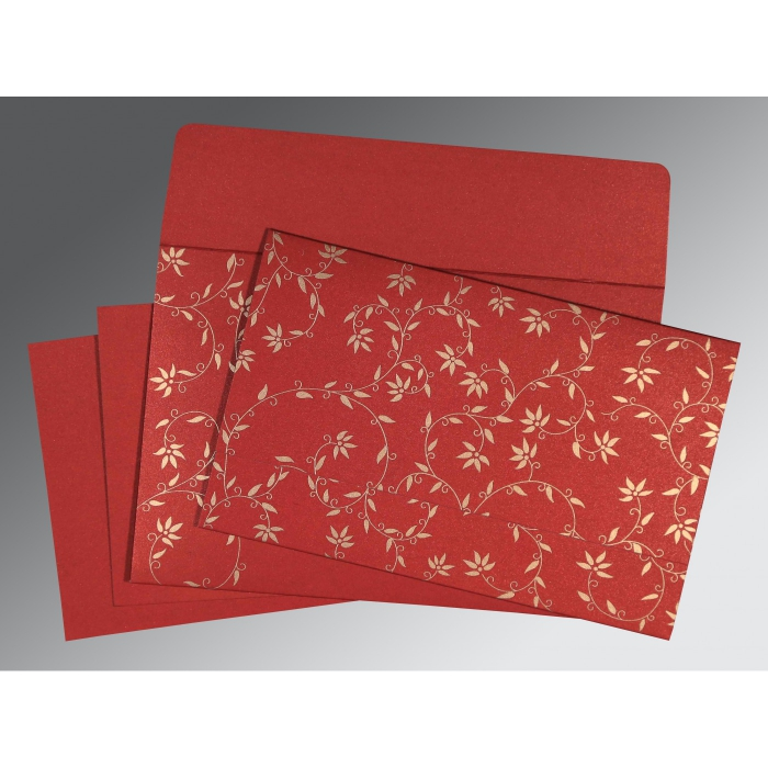 Red Shimmery Floral Themed - Screen Printed Wedding Invitation : C-8226G - 123WeddingCards