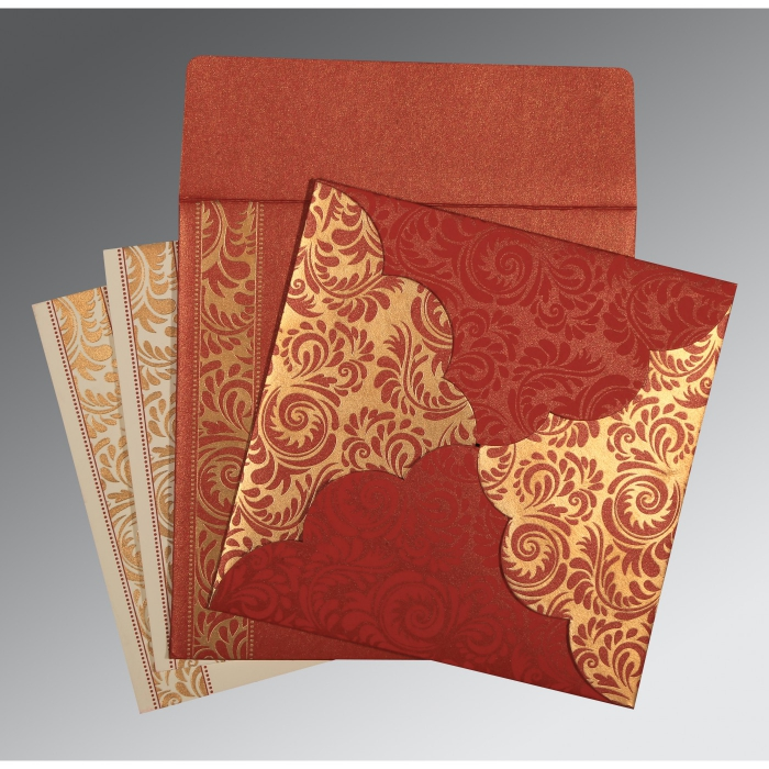 Red Shimmery Floral Themed - Screen Printed Wedding Card : C-8235C - 123WeddingCards