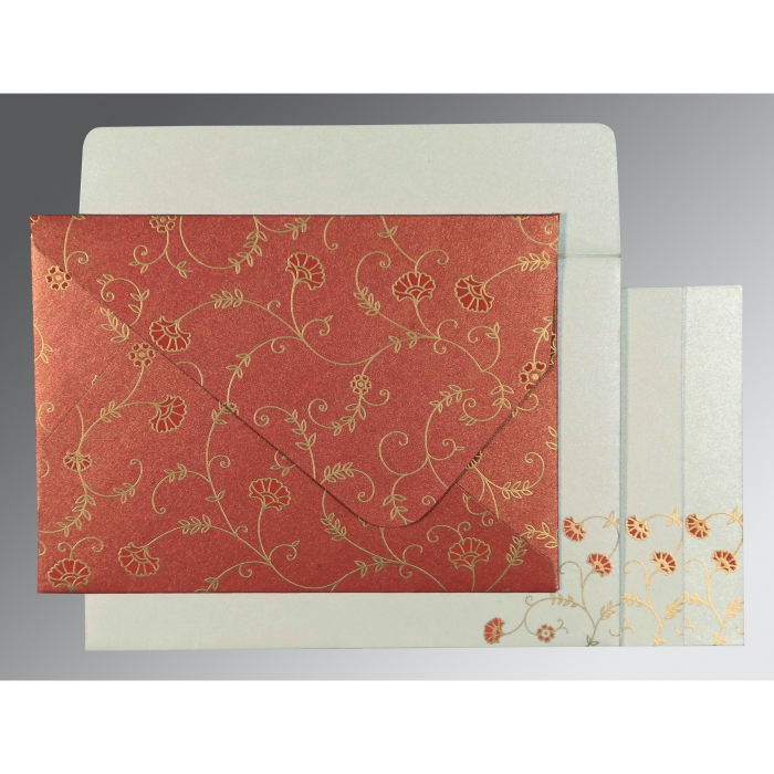 RED SHIMMERY FLORAL THEMED - SCREEN PRINTED WEDDING INVITATION : C-8248A - 123WeddingCards