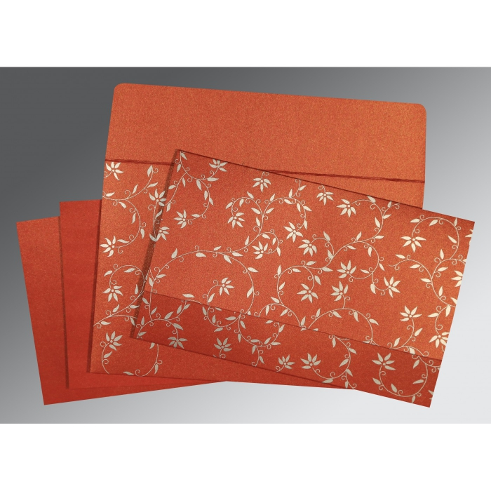 BRICK RED SHIMMERY FLORAL THEMED - SCREEN PRINTED WEDDING INVITATION : D-8226I - 123WeddingCards