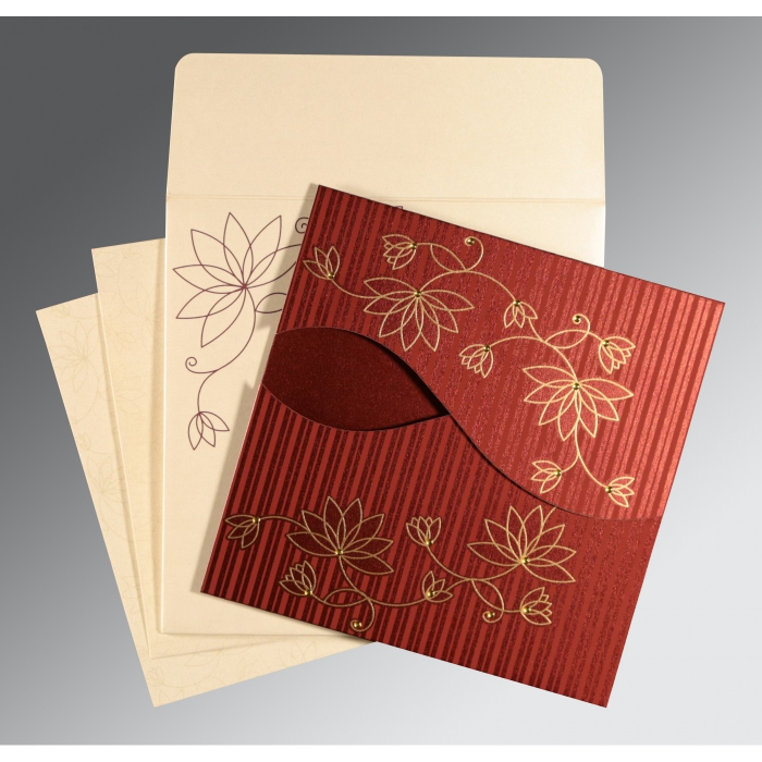 WINE RED SHIMMERY FLORAL THEMED - SCREEN PRINTED WEDDING INVITATION : D-8251L - 123WeddingCards