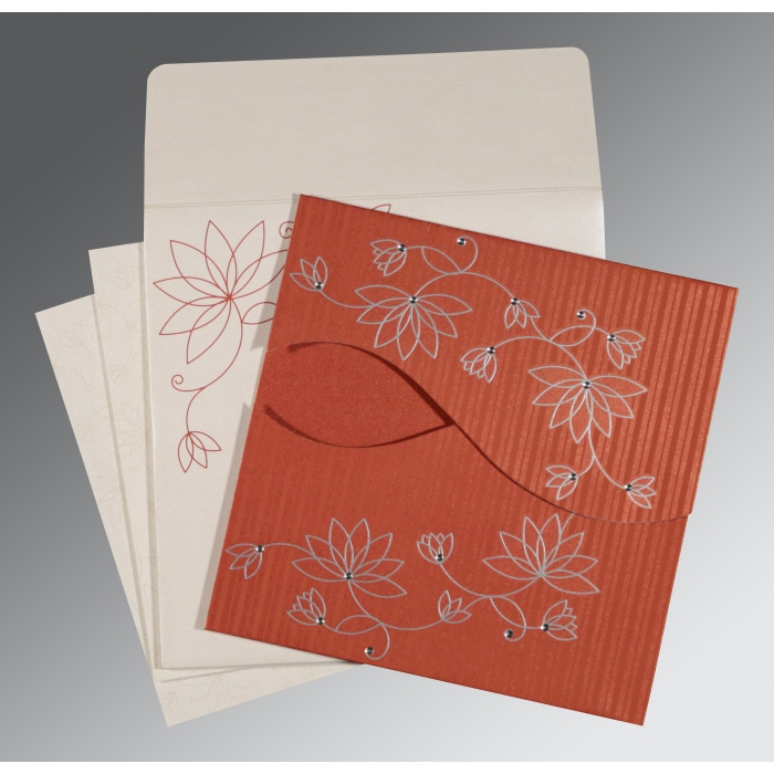 Red Shimmery Floral Themed - Screen Printed Wedding Invitation : RU-8251D - 123WeddingCards