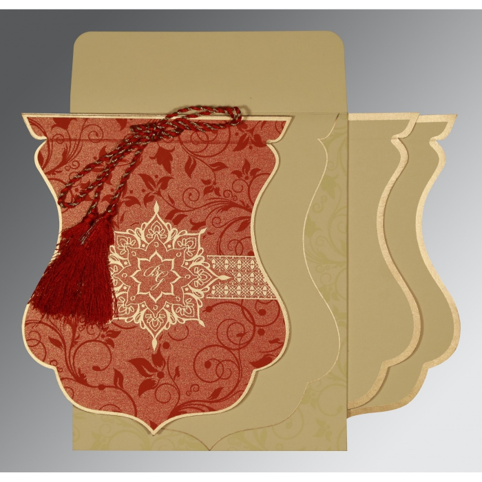 METALLIC RED SHIMMERY FLORAL THEMED - SCREEN PRINTED WEDDING CARD : W-8229H - 123WeddingCards