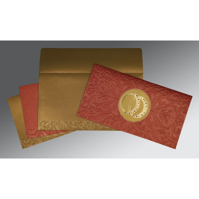 BRICK RED COPPER SHIMMERY FOIL STAMPED WEDDING CARD : D-1465 - 123WeddingCards