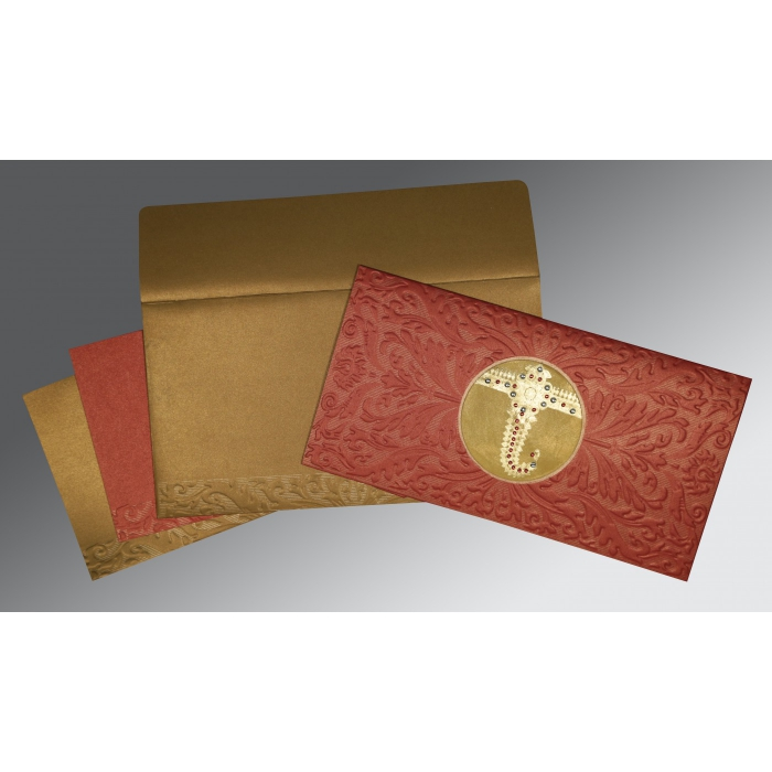 Red Shimmery Foil Stamped Wedding Invitations : G-1463 - 123WeddingCards