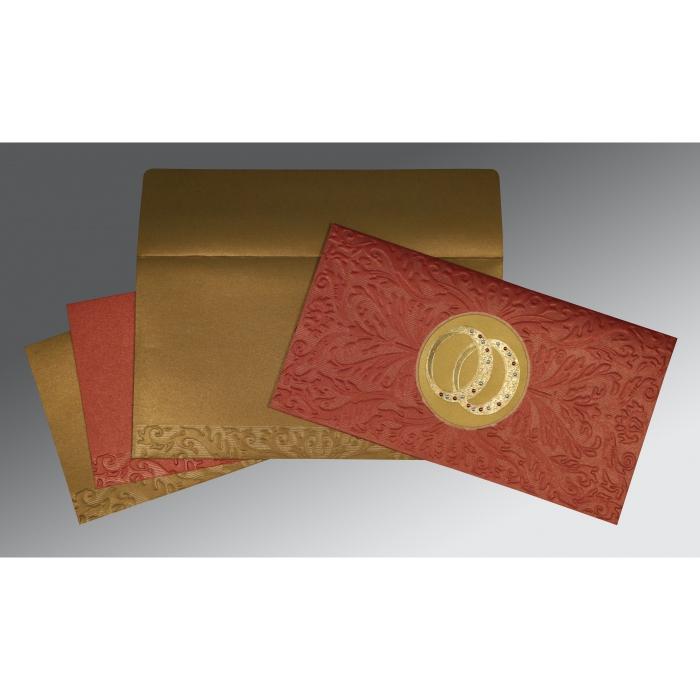 Red Shimmery Foil Stamped Wedding Card : RU-1465 - 123WeddingCards