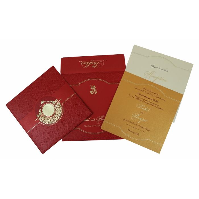 Red Shimmery Foil Stamped Wedding Invitation : W-1784 - 123WeddingCards