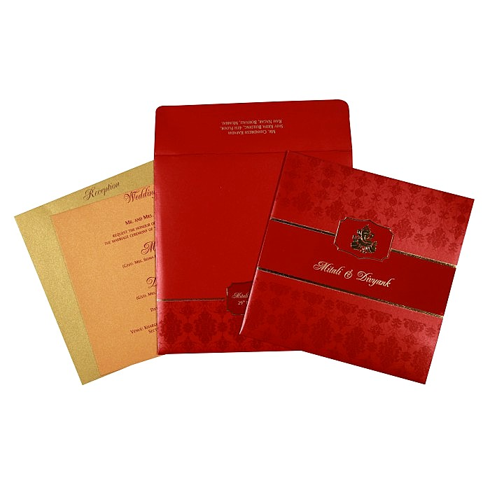 Red Shimmery Foil Stamped Wedding Card : W-2292 - 123WeddingCards