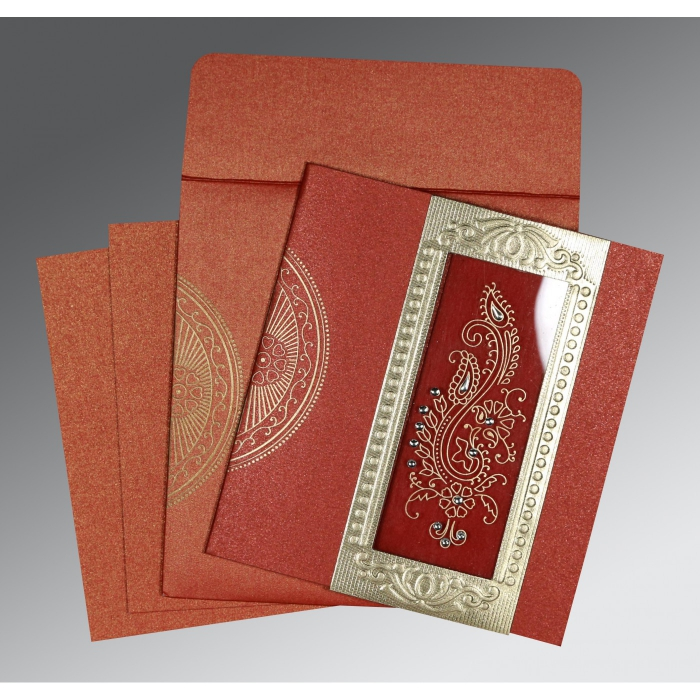 Red Shimmery Paisley Themed - Foil Stamped Wedding Invitation : G-8230N - 123WeddingCards