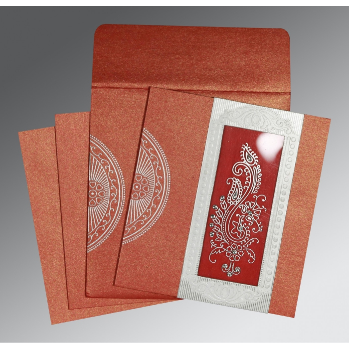 Red Shimmery Paisley Themed - Foil Stamped Wedding Invitation : RU-8230C - 123WeddingCards