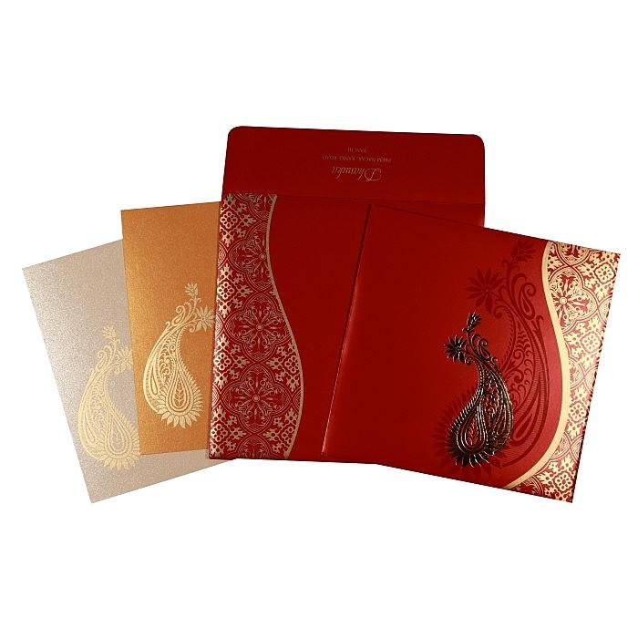 RUBY SHIMMERY FOIL STAMPED WEDDING INVITATION : W-1742 - 123WeddingCards
