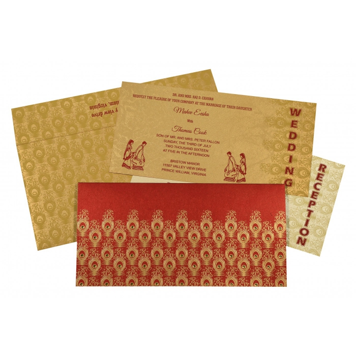 STRONG RED SHIMMERY PEACOCK THEMED - SCREEN PRINTED WEDDING INVITATION : IN-8256C - 123WeddingCards