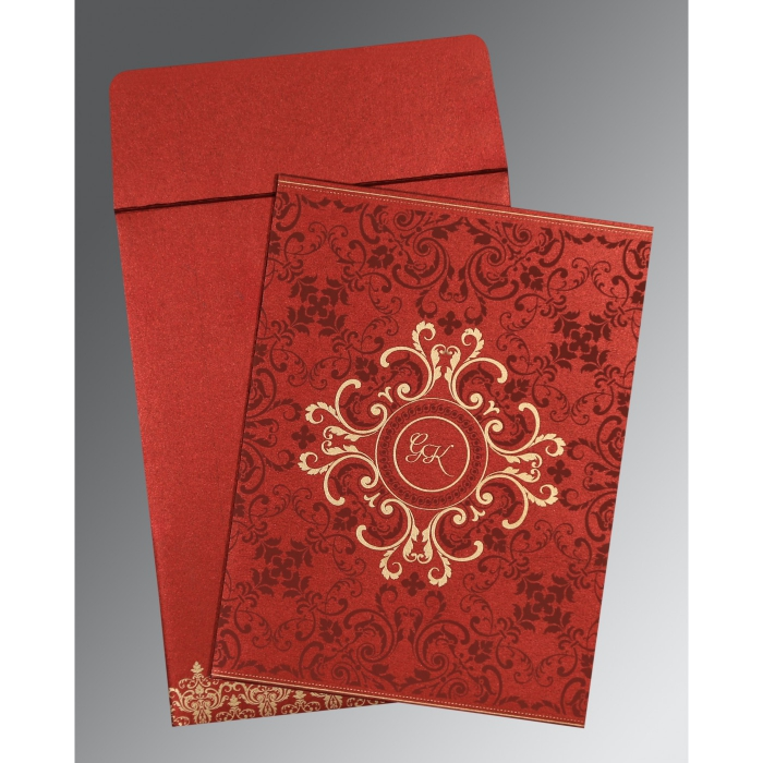WINE RED SHIMMERY SCREEN PRINTED WEDDING CARD : C-8244E - 123WeddingCards