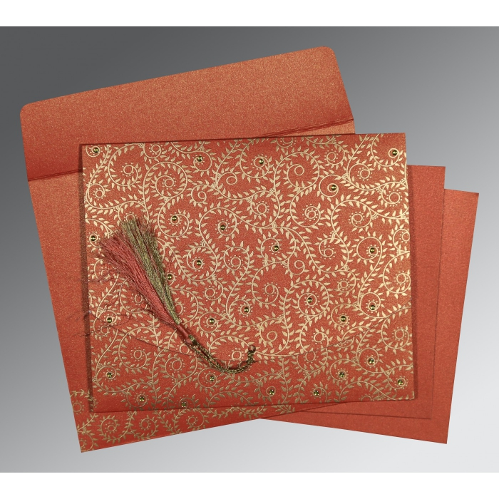 RED SHIMMERY SCREEN PRINTED WEDDING INVITATION : D-8217A - 123WeddingCards
