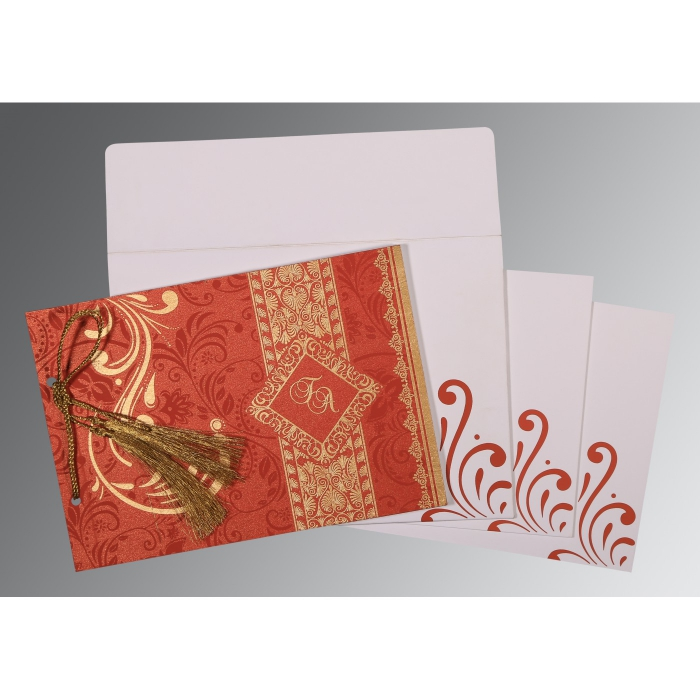 Red Shimmery Screen Printed Wedding Card : I-8223F - 123WeddingCards