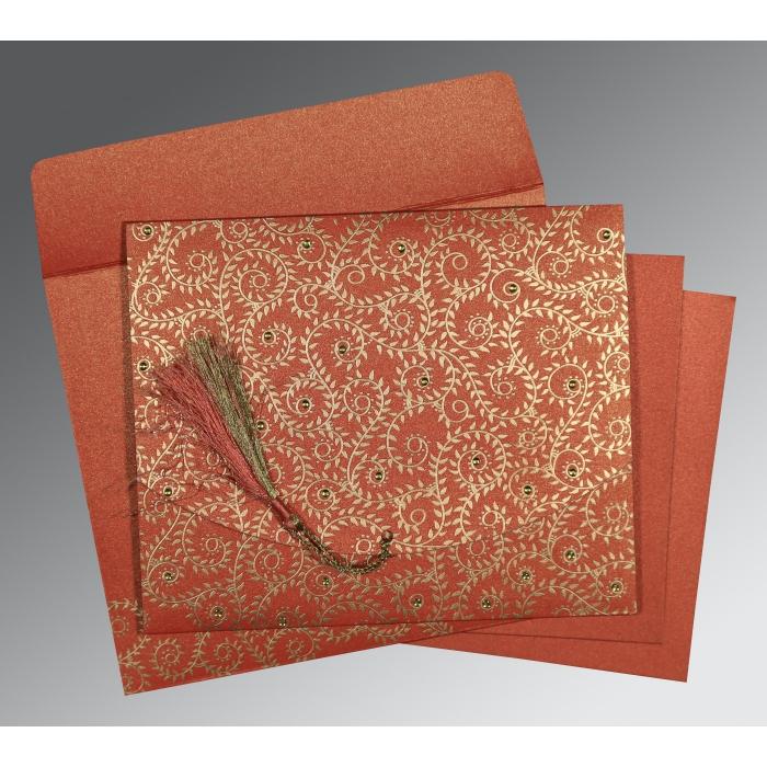 Red Shimmery Screen Printed Wedding Invitation : RU-8217A - 123WeddingCards