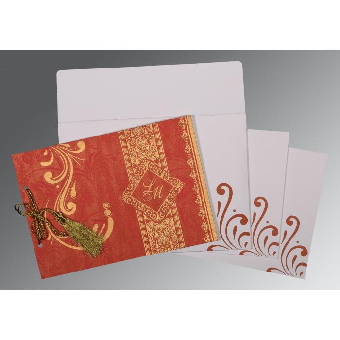 Red Shimmery Screen Printed Wedding Card : RU-8223C - 123WeddingCards