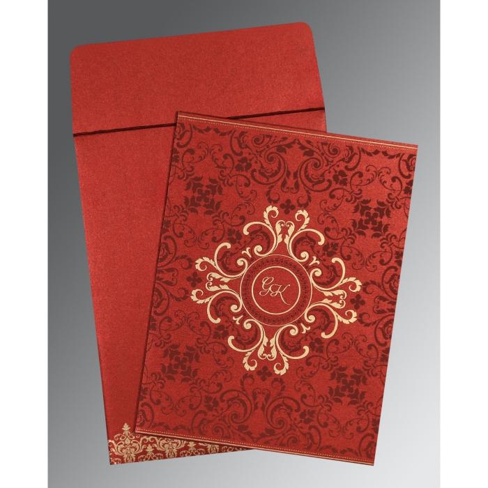 Red Shimmery Screen Printed Wedding Card : SO-8244E - 123WeddingCards